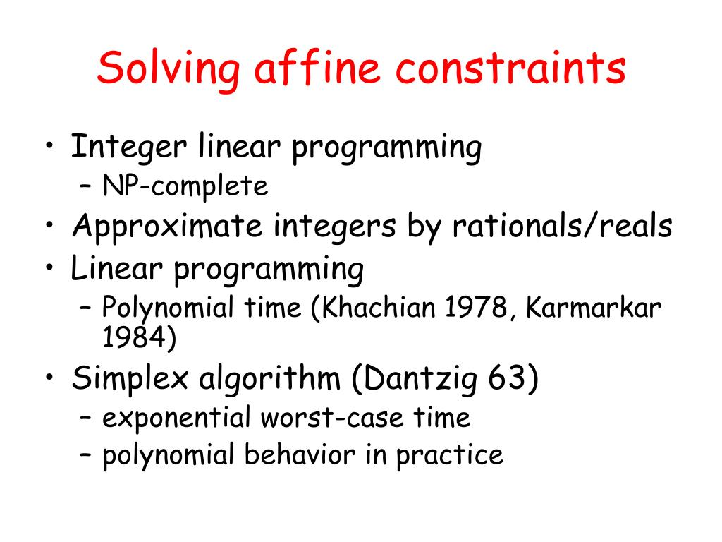 Solving affine constraints