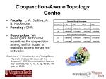 cooperation aware topology control