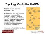 topology control for manets