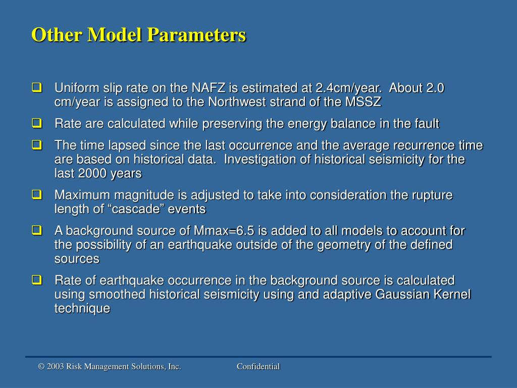 Other Model Parameters