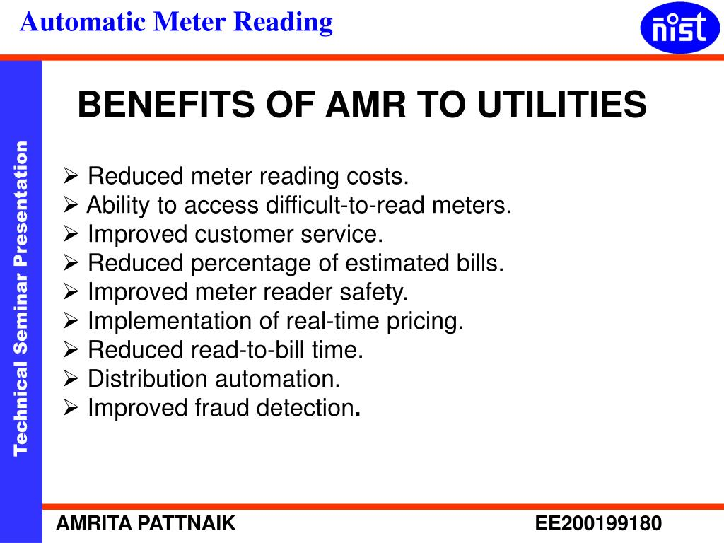 BENEFITS OF AMR TO UTILITIES