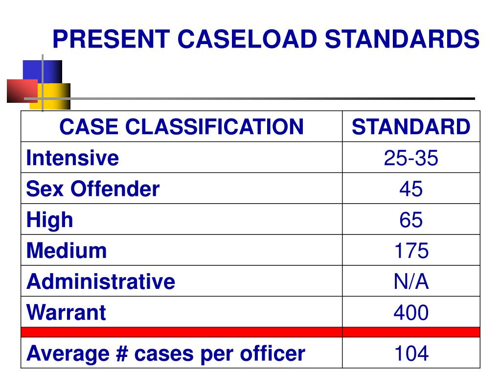 PRESENT CASELOAD STANDARDS