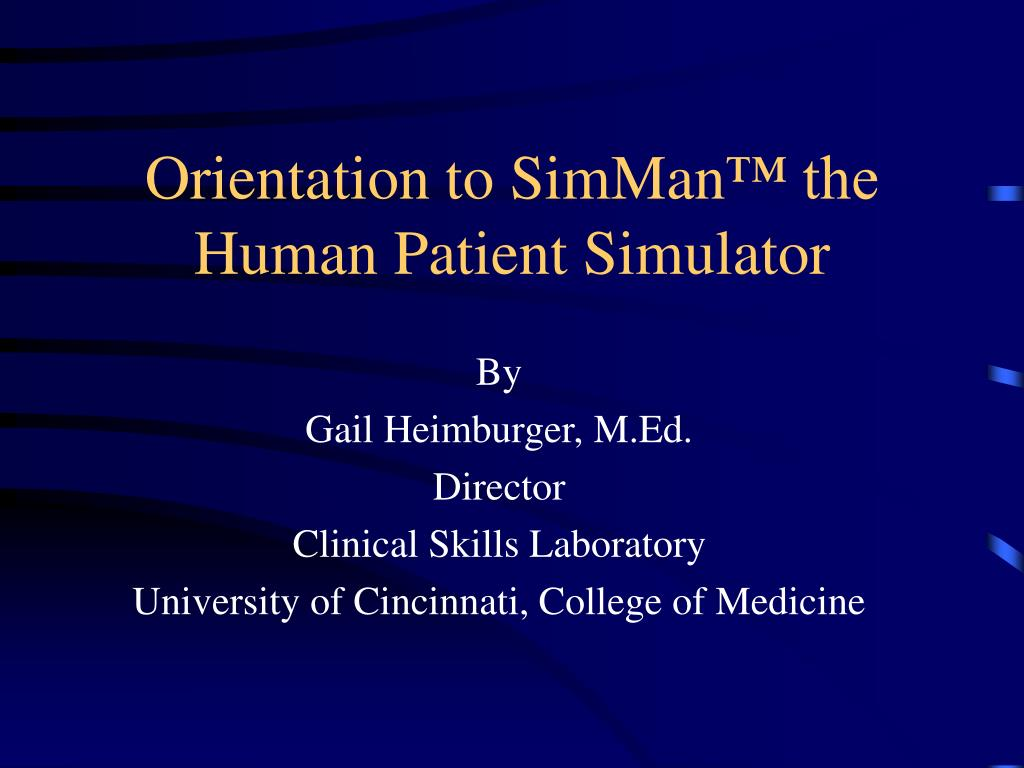 Orientation to SimMan