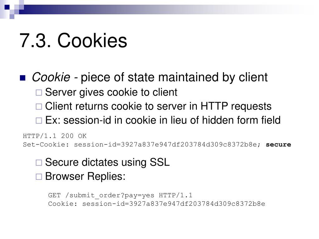 7.3. Cookies