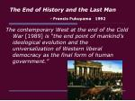 the end of history and the last man francis fukuyama 1992