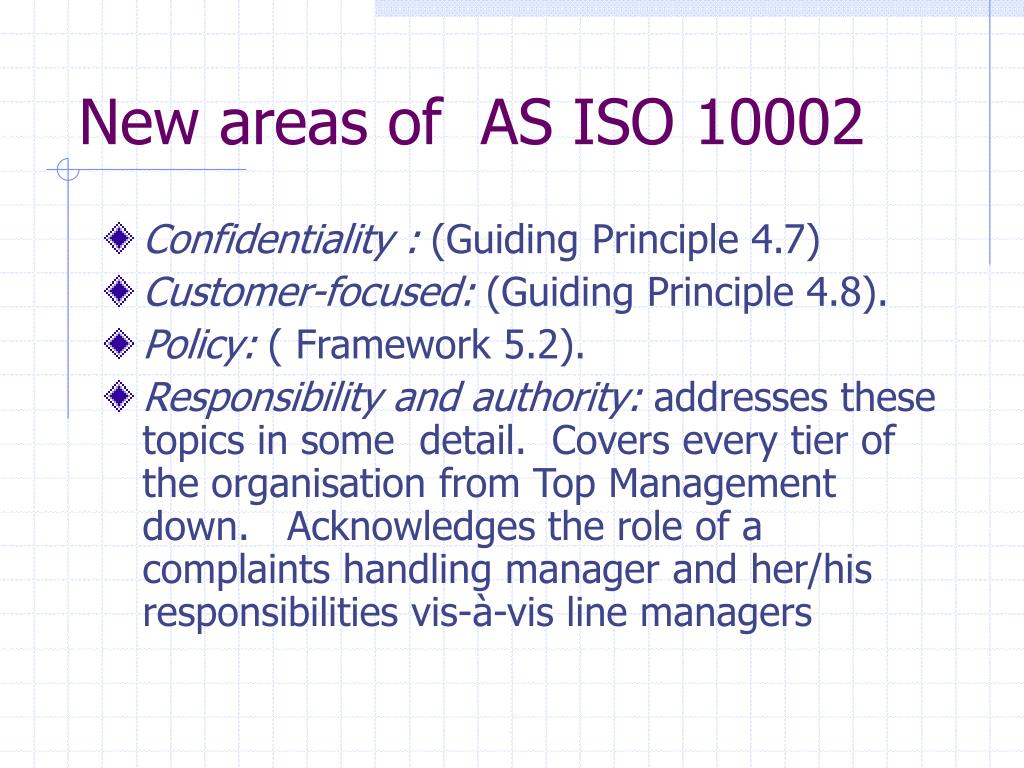 New areas of  AS ISO 10002