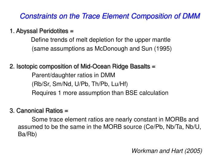 Constraints on the Trace Element Composition of DMM