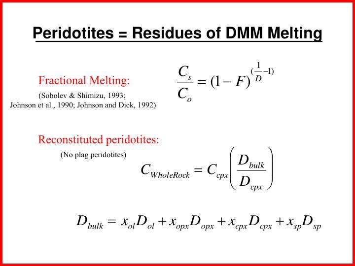 Peridotites = Residues of DMM Melting