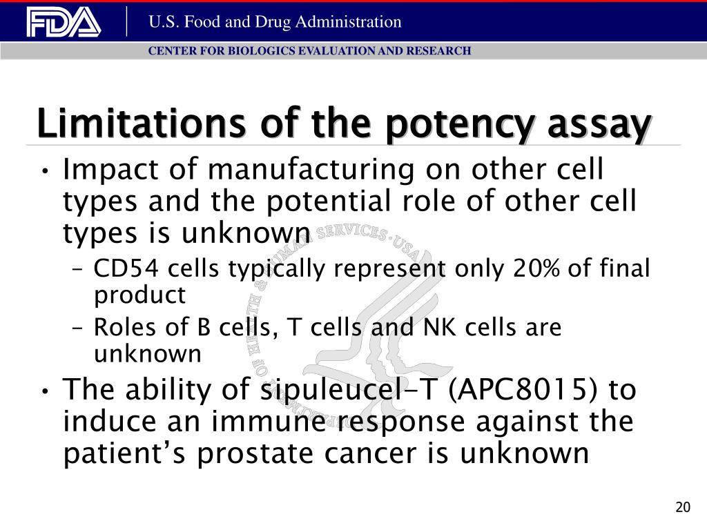 Limitations of the potency assay