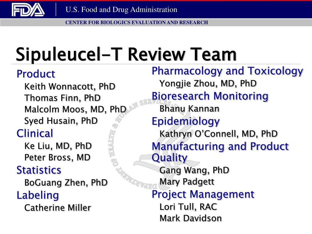 Sipuleucel-T Review Team