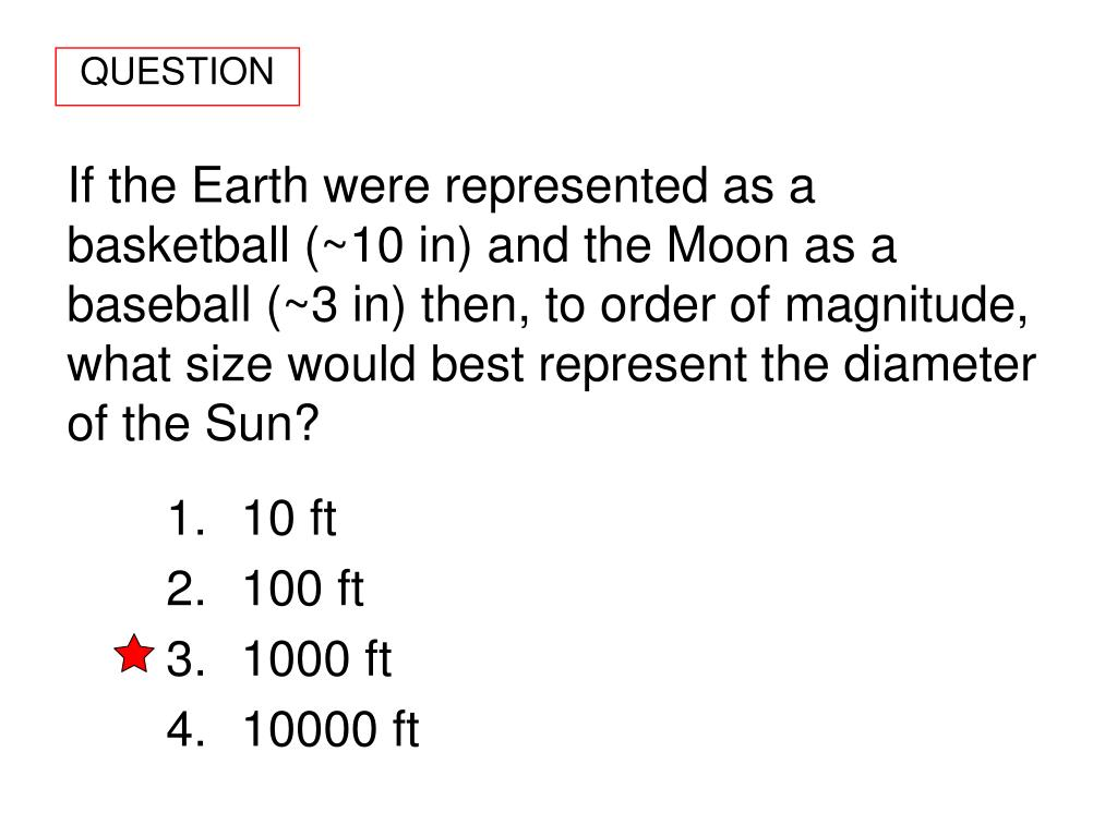 If the Earth were represented as a basketball (~10 in) and the Moon as a baseball (~3 in) then, to order of magnitude, what size would best represent the diameter of the Sun?