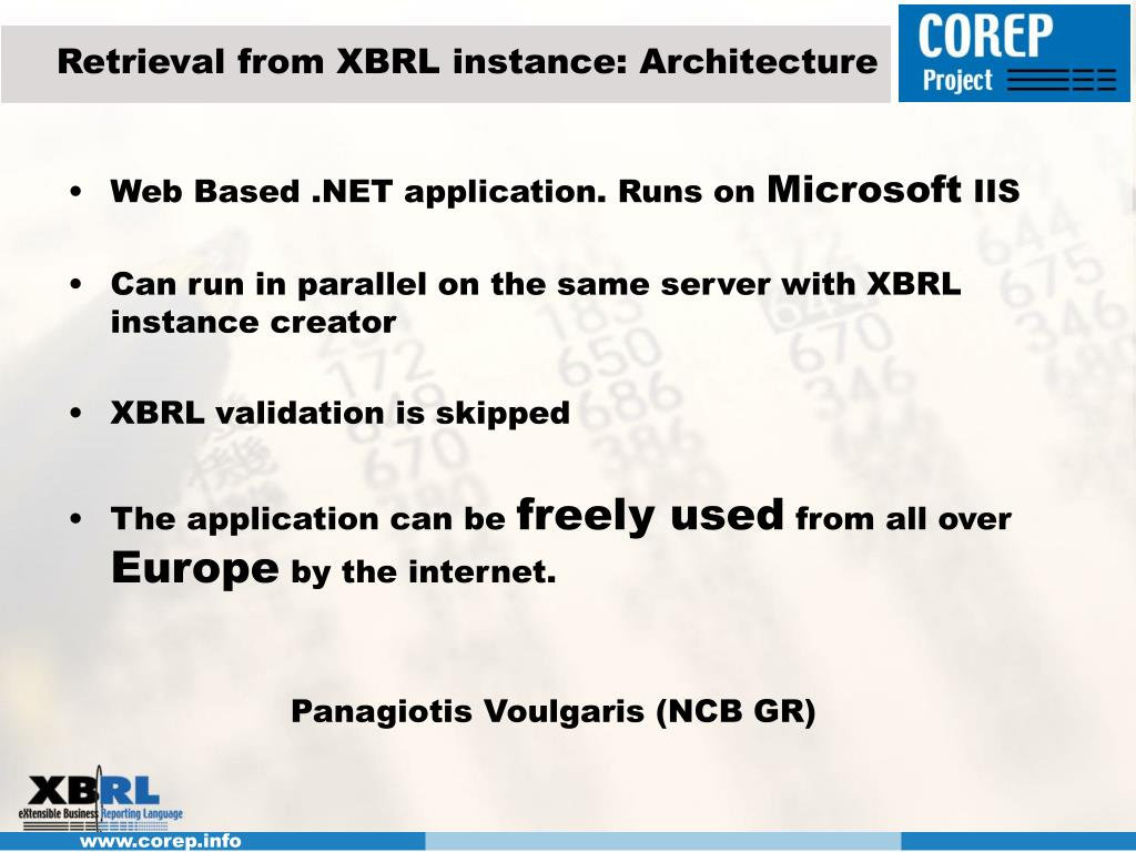 Retrieval from XBRL instance: