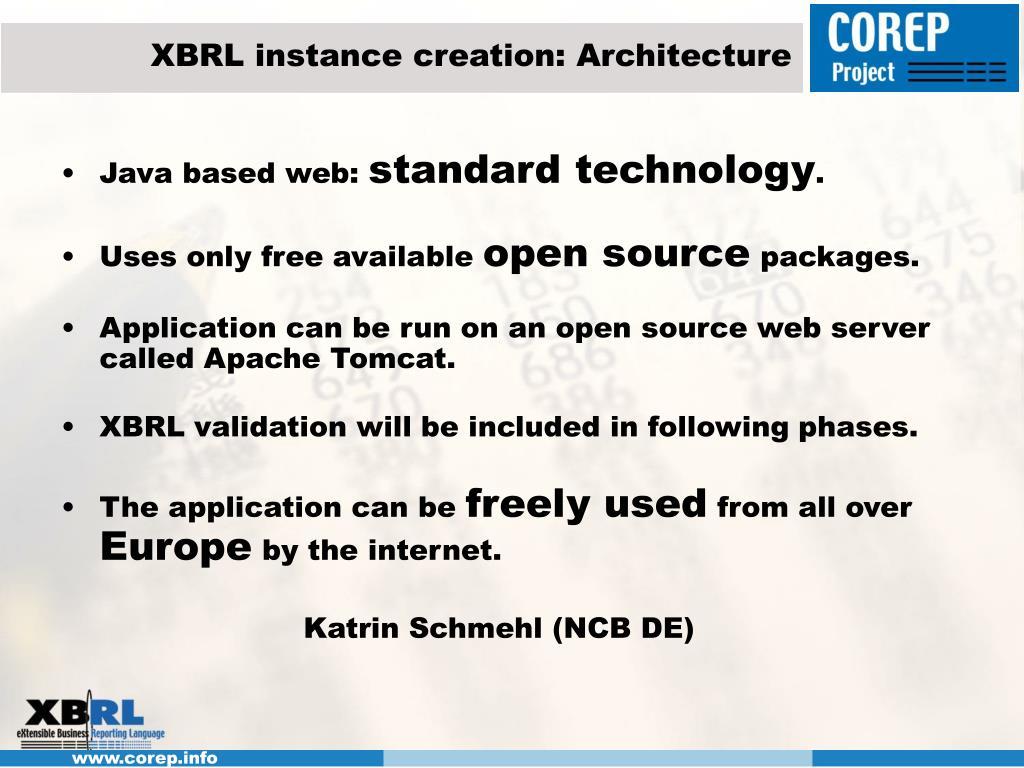 XBRL instance creation: