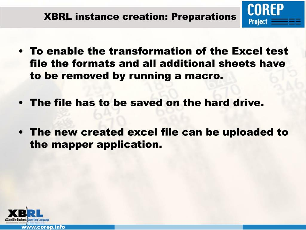 XBRL instance creation: Preparations