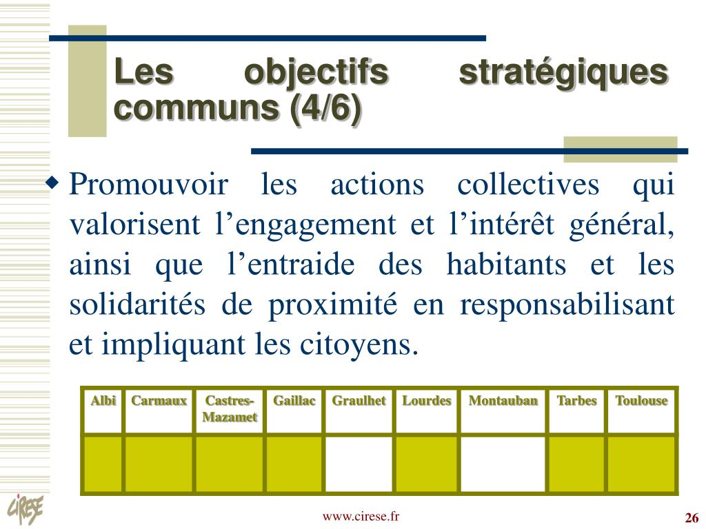 Les objectifs stratégiques communs (4/6)