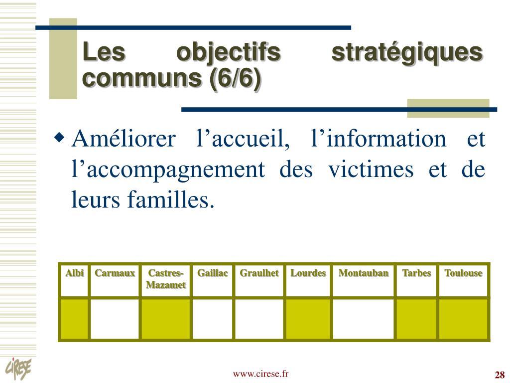 Les objectifs stratégiques communs (6/6)