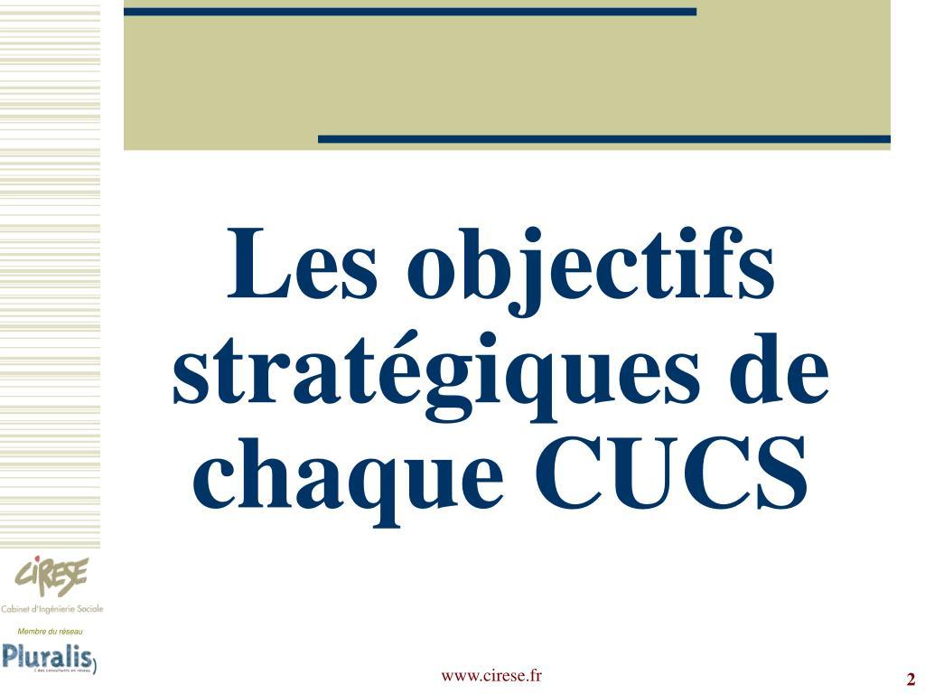 Les objectifs stratégiques de chaque CUCS