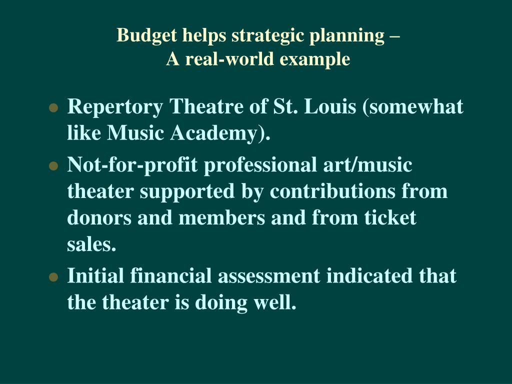 Budget helps strategic planning –