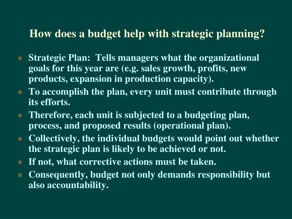 How does a budget help with strategic planning?