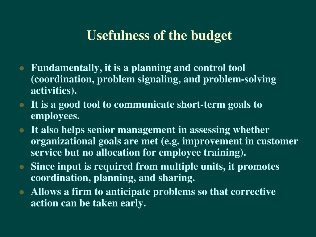 Usefulness of the budget