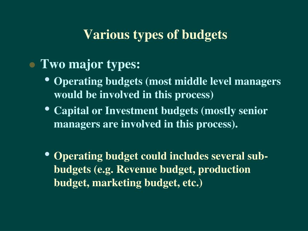 Various types of budgets