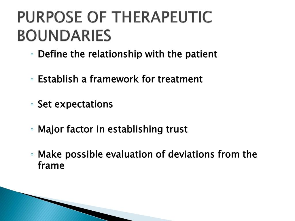 PURPOSE OF THERAPEUTIC BOUNDARIES