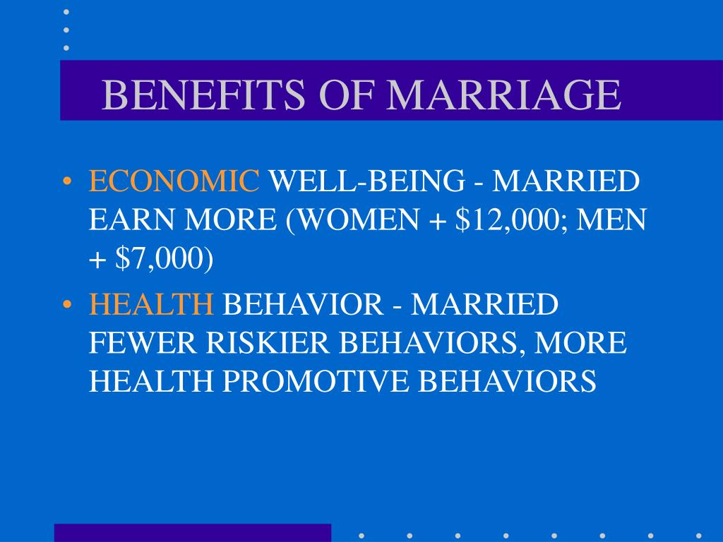 mental benefits of marriage But when you read these 10 advantages of being married,  health benefits due to their marriage typically such benefits include preserving their mental and .