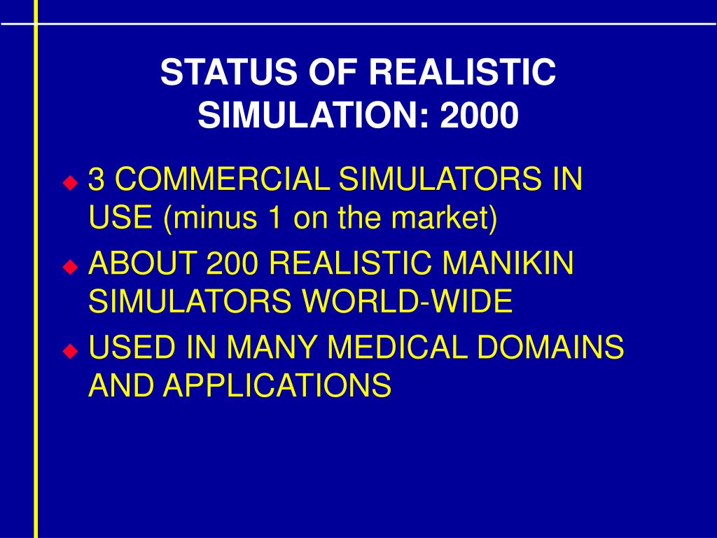 STATUS OF REALISTIC SIMULATION: 2000