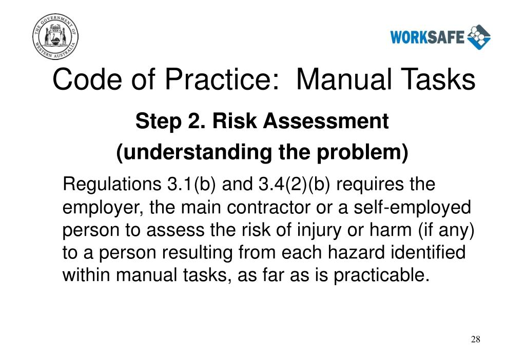 Code of Practice:  Manual Tasks