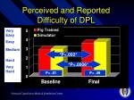 perceived and reported difficulty of dpl