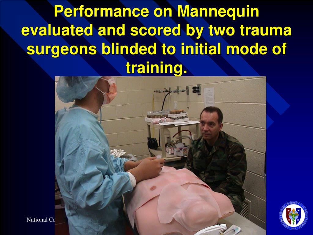 Performance on Mannequin evaluated and scored by two trauma surgeons blinded to initial mode of training.