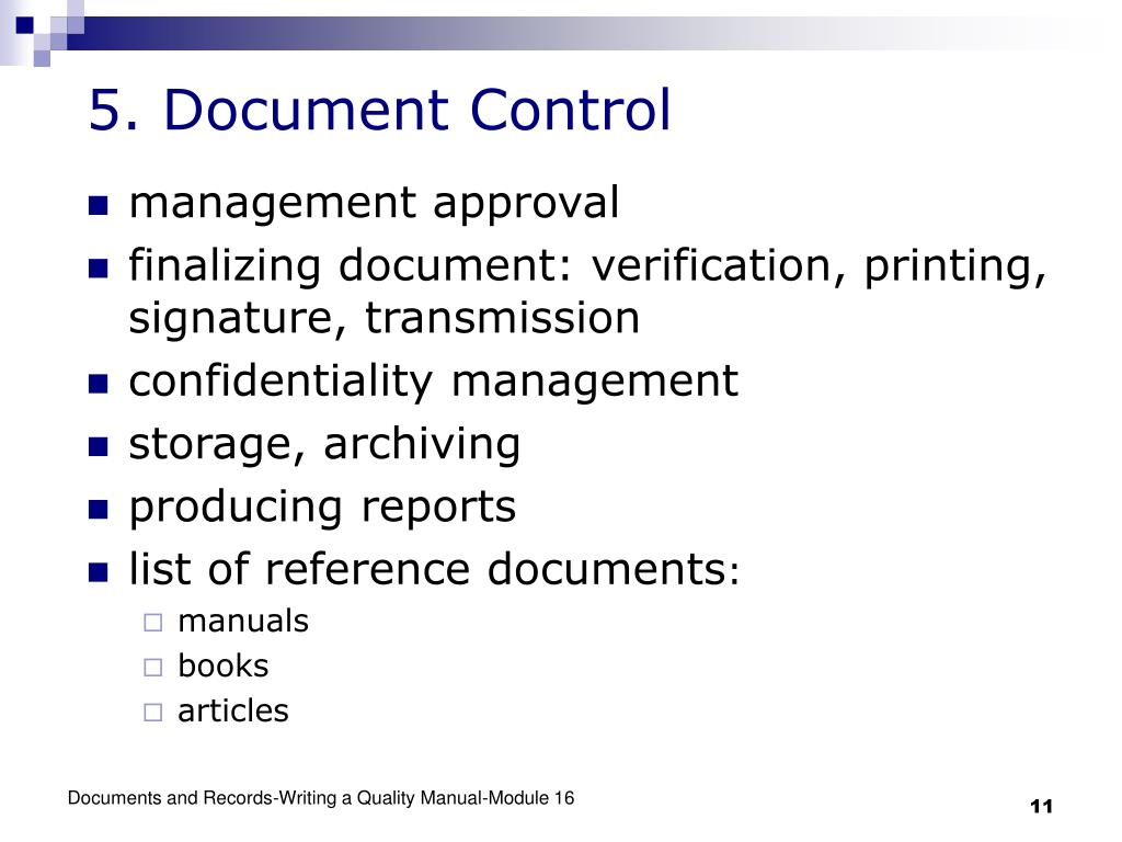 writing a quality control manual