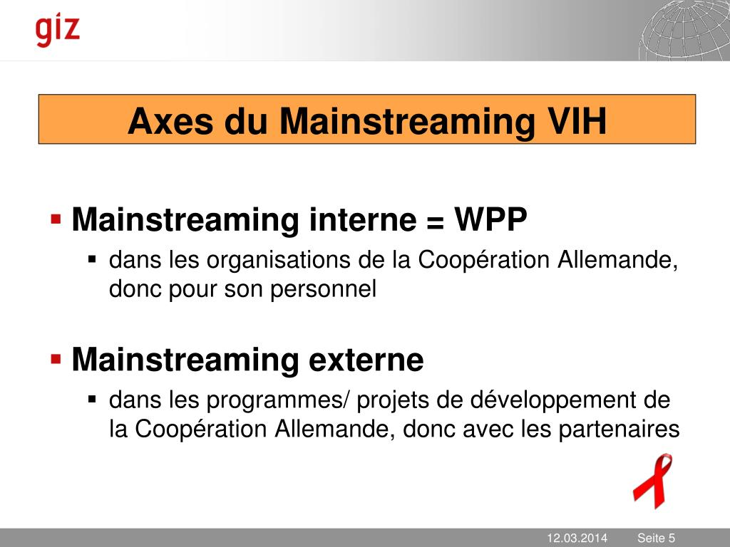 Axes du Mainstreaming VIH
