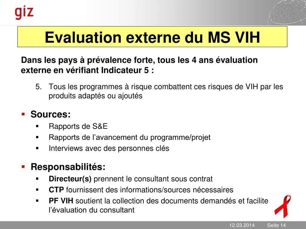 Evaluation externe du MS VIH