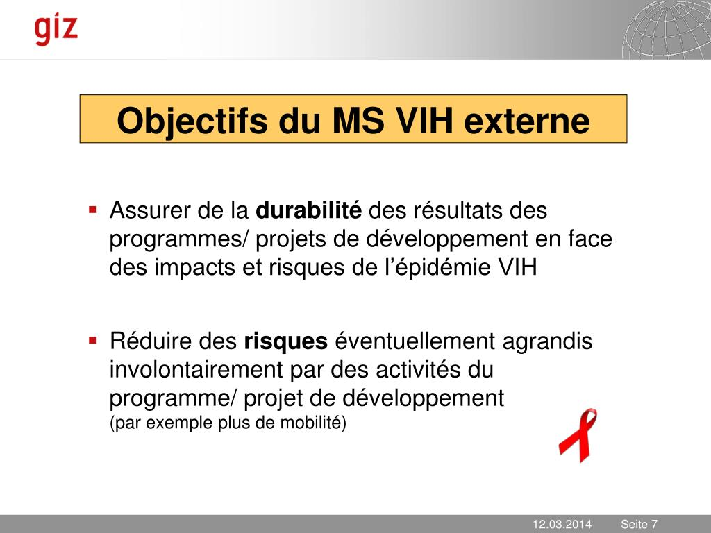 Objectifs du MS VIH externe
