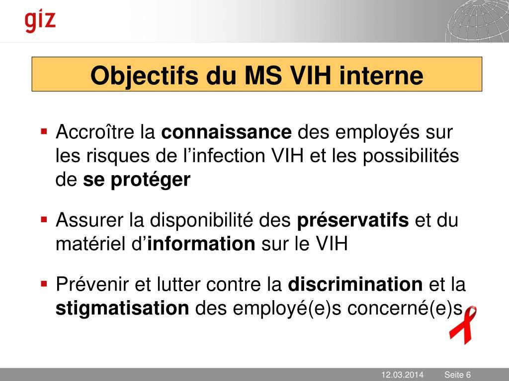 Objectifs du MS VIH interne