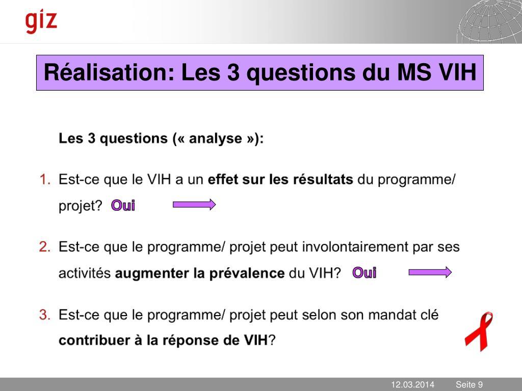 Réalisation: Les 3 questions du MS VIH