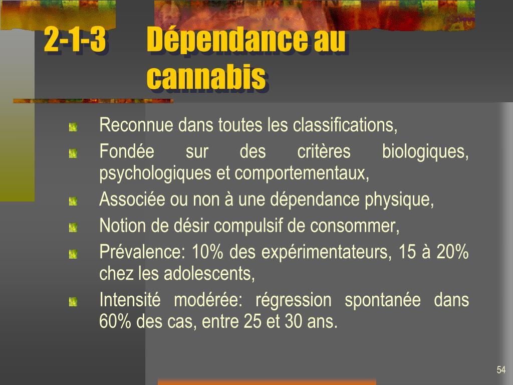 2-1-3Dépendance au cannabis