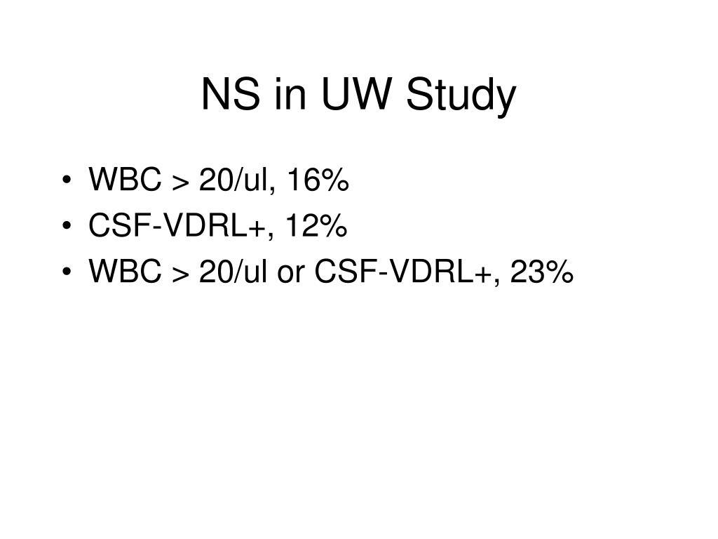NS in UW Study