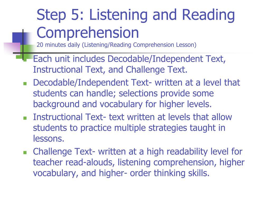 essay about comprehensive listening Hogan tp1, adlof sm, alonzo cn (2014) on the importance of listening comprehension, international journal of speech-language pathology june 16 (3):199-207 the.