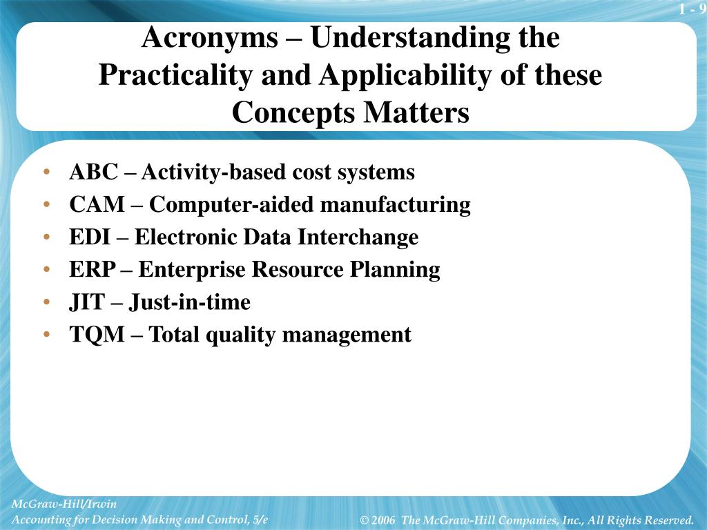 Acronyms – Understanding the Practicality and Applicability of these Concepts Matters