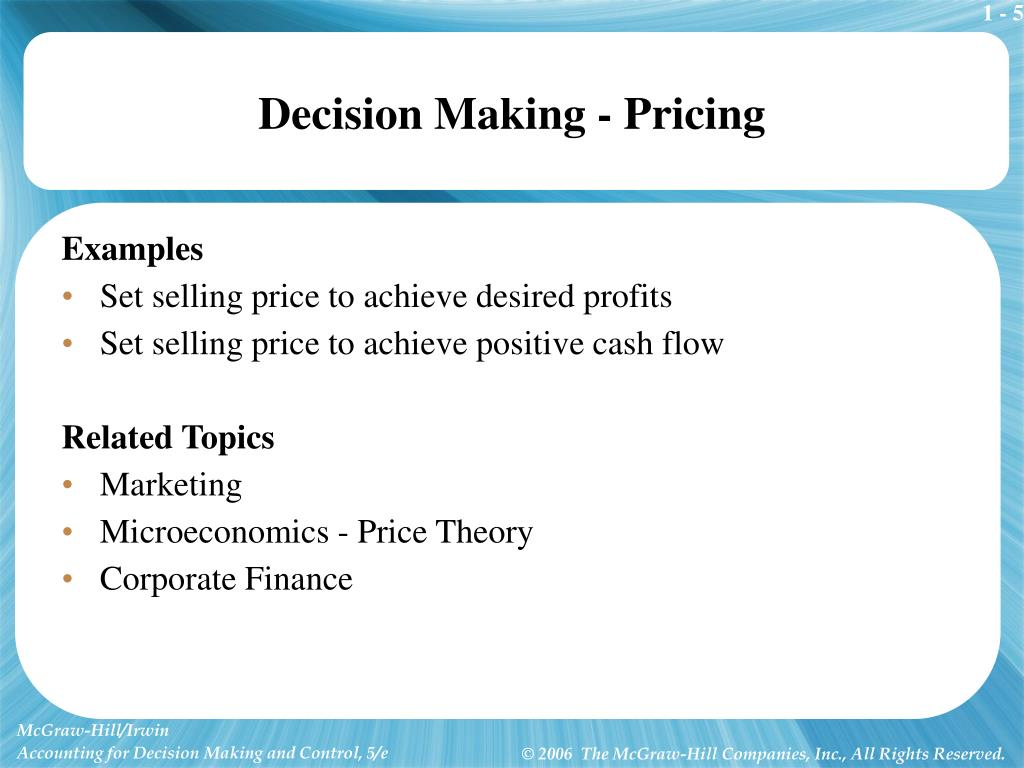 Decision Making - Pricing