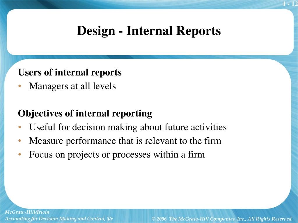 Design - Internal Reports