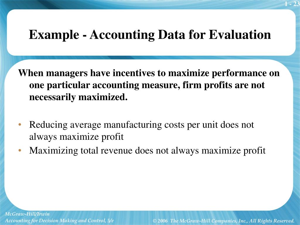 Example - Accounting Data for Evaluation