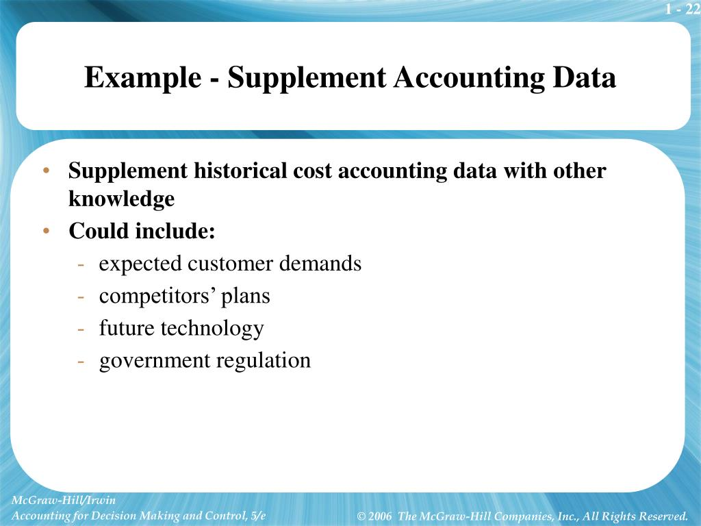 Example - Supplement Accounting Data
