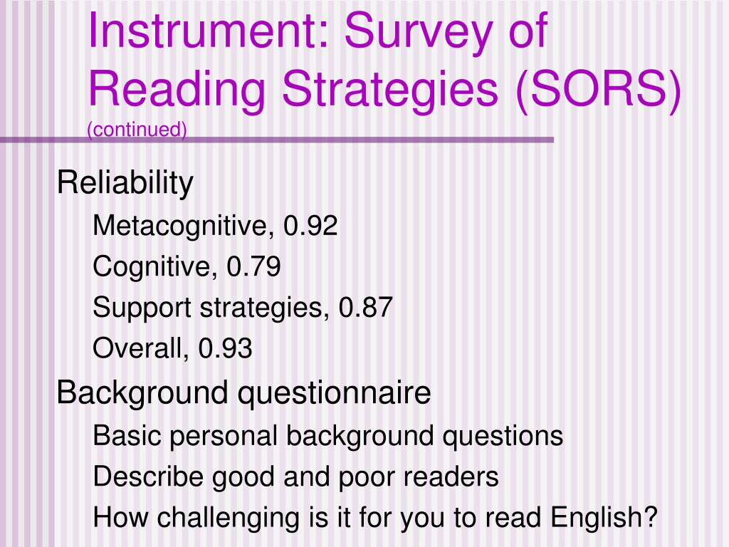 Instrument: Survey of Reading Strategies (SORS)