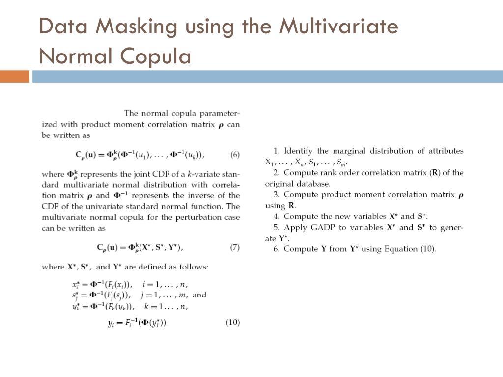 Data Masking using the Multivariate Normal Copula