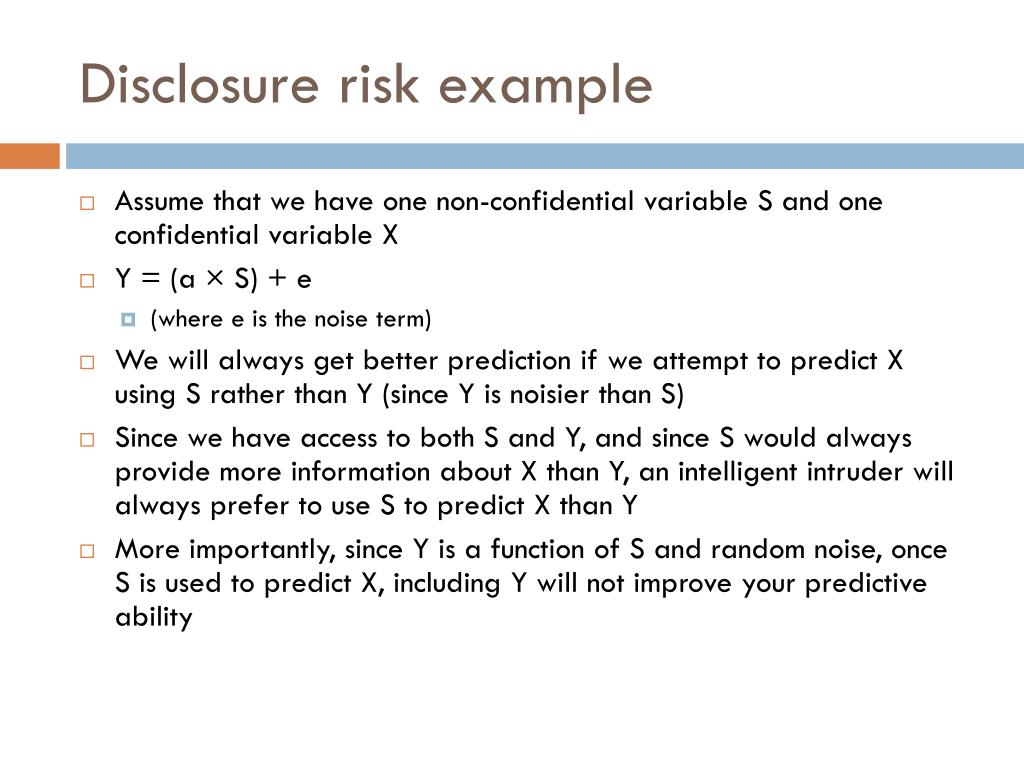 Disclosure risk example