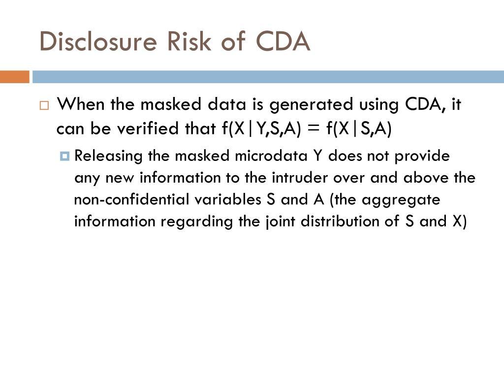 Disclosure Risk of CDA