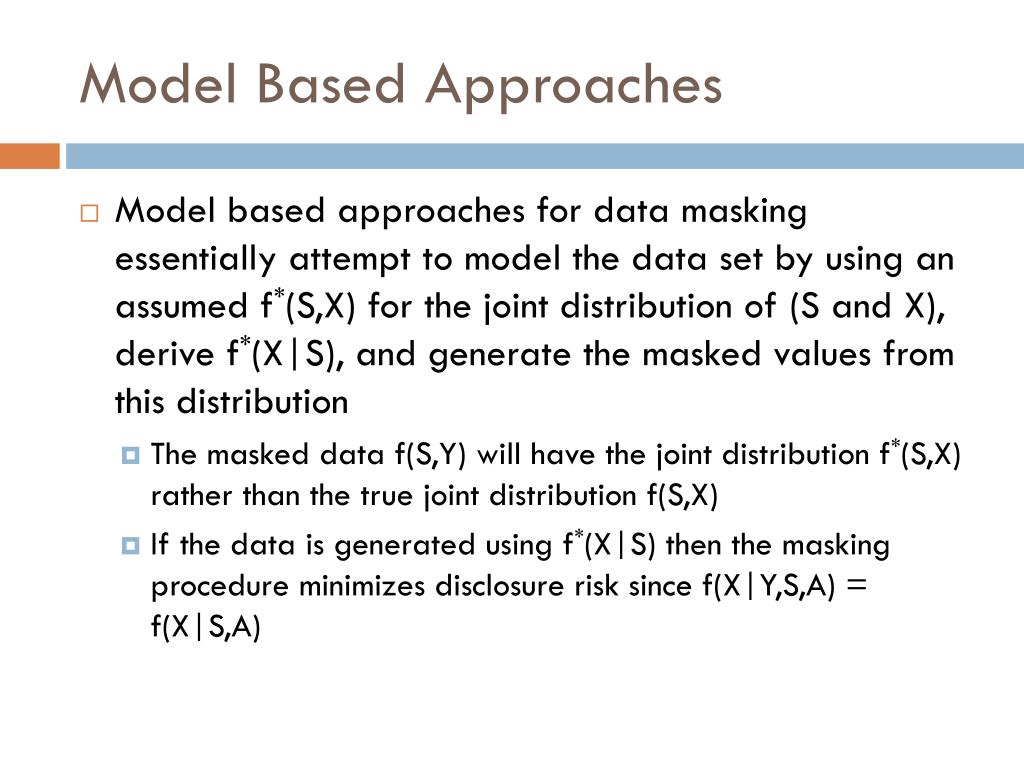 Model Based Approaches